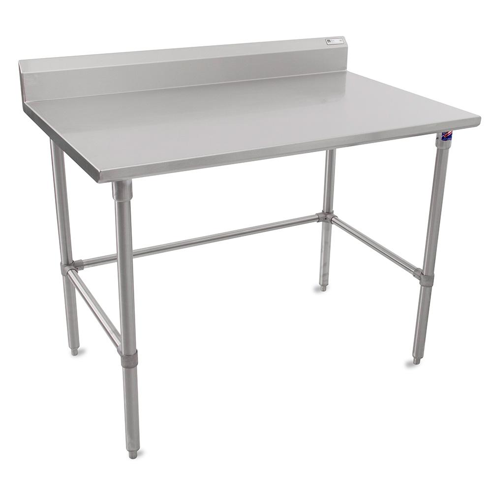 """John Boos ST6R5-24120SBK 120"""" 16-ga Work Table w/ Open Base & 300-Series Stainless Top, 5"""" Backsplash"""