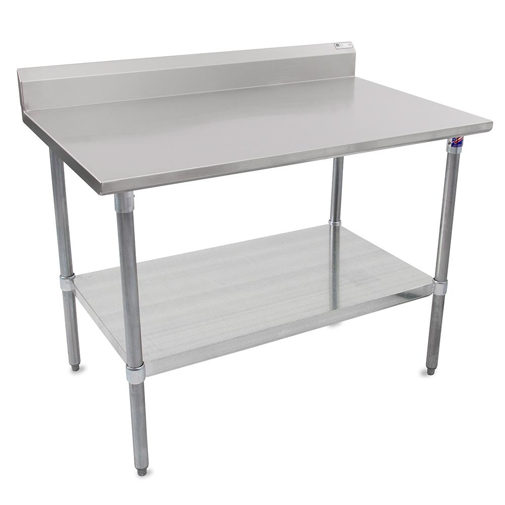 "John Boos ST6R5-2460GSK 60"" 16-ga Work Table w/ Undershelf & 300-Series Stainless Top, 5"" Backsplash"