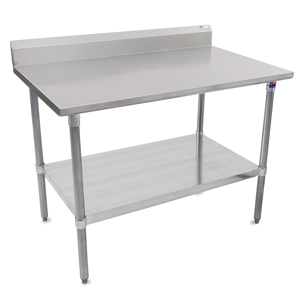 "John Boos ST6R5-2496GSK 96"" 16-ga Work Table w/ Undershelf & 300-Series Stainless Top, 5"" Backsplash"