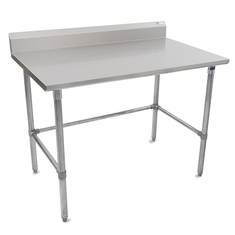 "John Boos ST6R5-30108GBK 108"" 16-ga Work Table w/ Open Base & 300-Series Stainless Top, 5"" Backsplash"