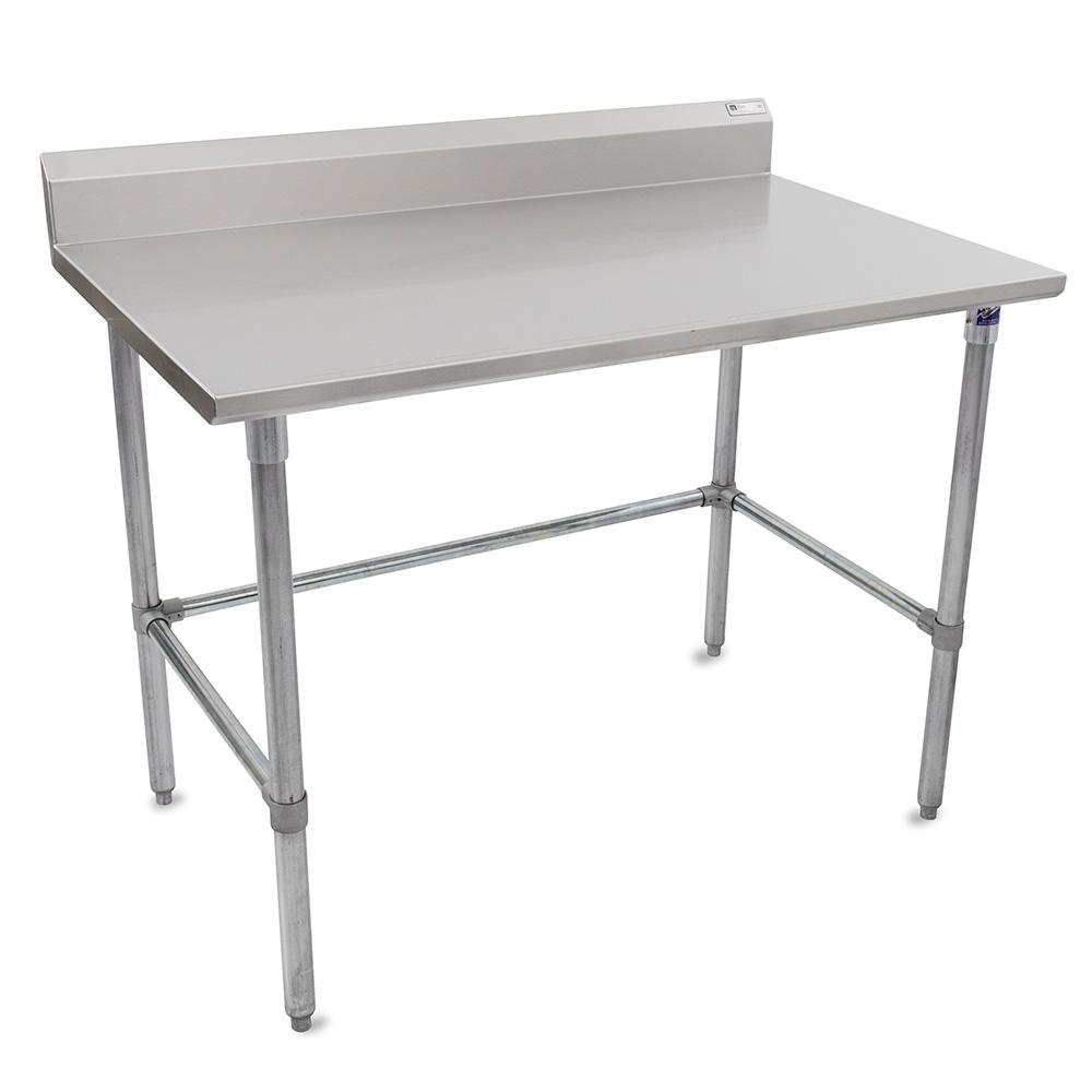 """John Boos ST6R5-30120GBK 120"""" 16-ga Work Table w/ Open Base & 300-Series Stainless Top, 5"""" Backsplash"""