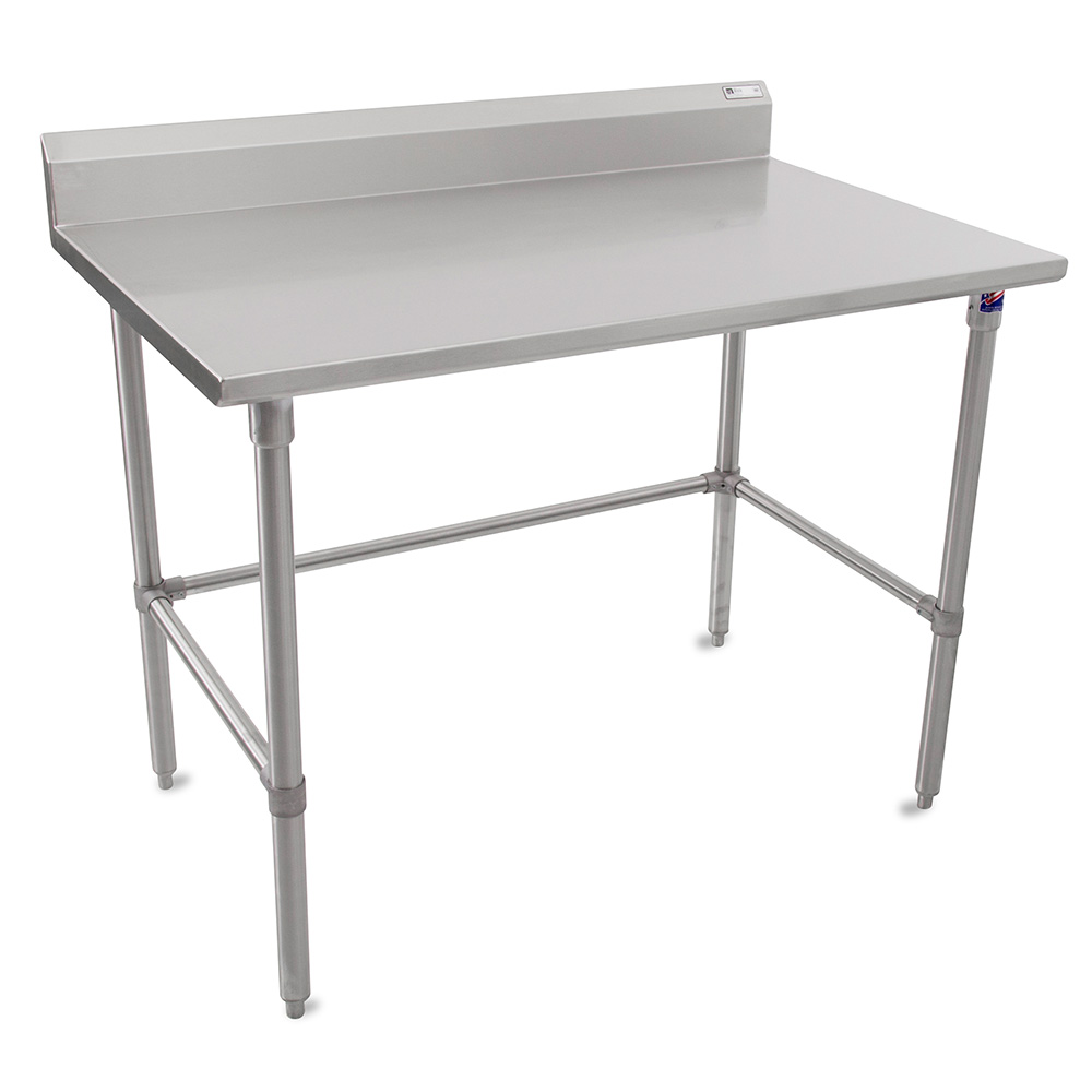 """John Boos ST6R5-30120SBK 120"""" 16-ga Work Table w/ Open Base & 300-Series Stainless Top, 5"""" Backsplash"""