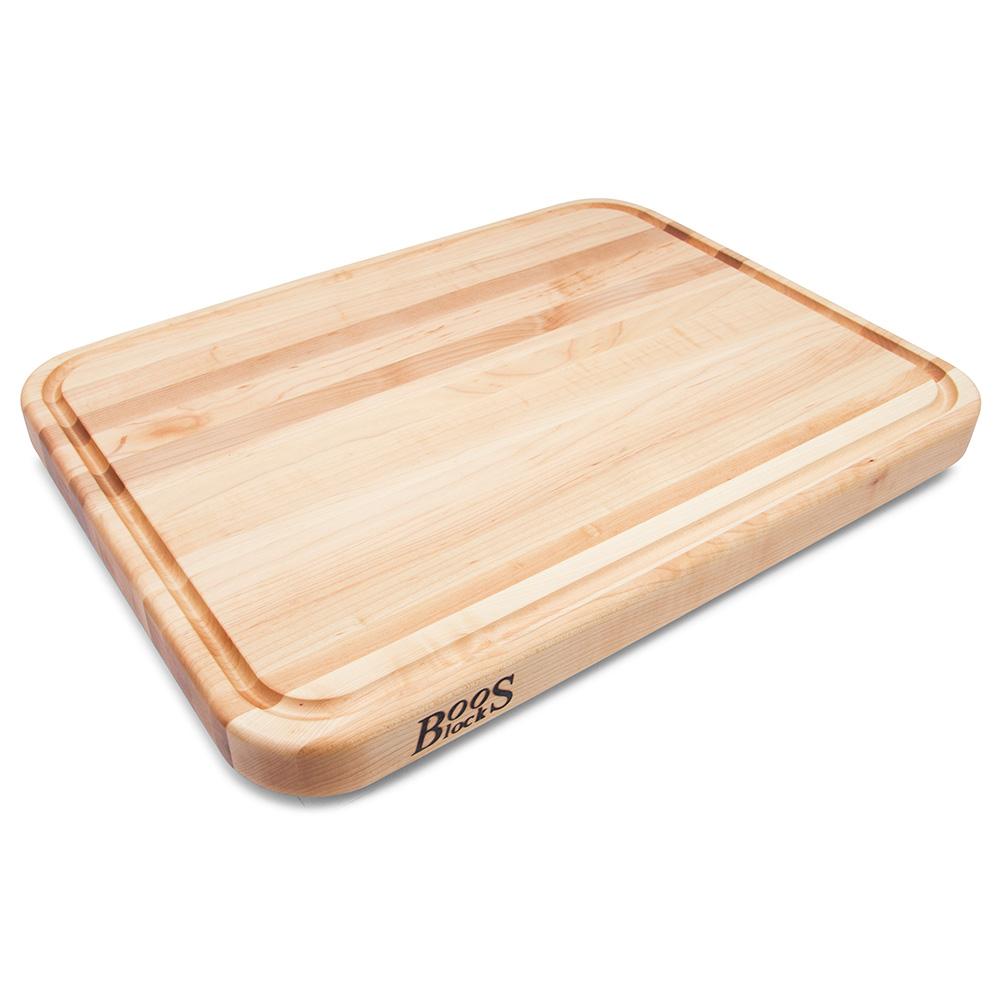 """John Boos TEN2015 Cutting Board w/ Juice Groove - Stainless Feet, 20x15x2"""", Northern Hard Rock Maple"""