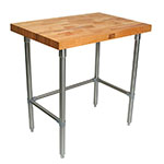 "John Boos TNB10 Work Table, 72x30"", 2.25"" Hard Rock Maple Top, Stainless Legs"
