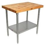 "John Boos TNS01 2.25"" Maple Top Work Table w/ Undershelf, 36""L x 24""D"
