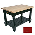 "John Boos TUSI5432 BN Tuscan Island w/ Hard Rock Maple Edge Grain Top, 54x32x1.75"", Barn Red"