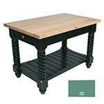 "John Boos TUSI5432 BS Tuscan Island w/ Hard Rock Maple Edge Grain Top, 54x32x1.75"", Basil Green"
