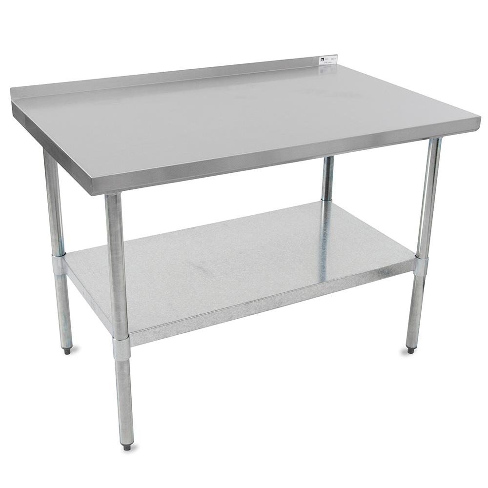 "John Boos UFBLG9624 96"" 18-ga Work Table w/ Undershelf & 430-Series Stainless Top, 1.5"" Backsplash"
