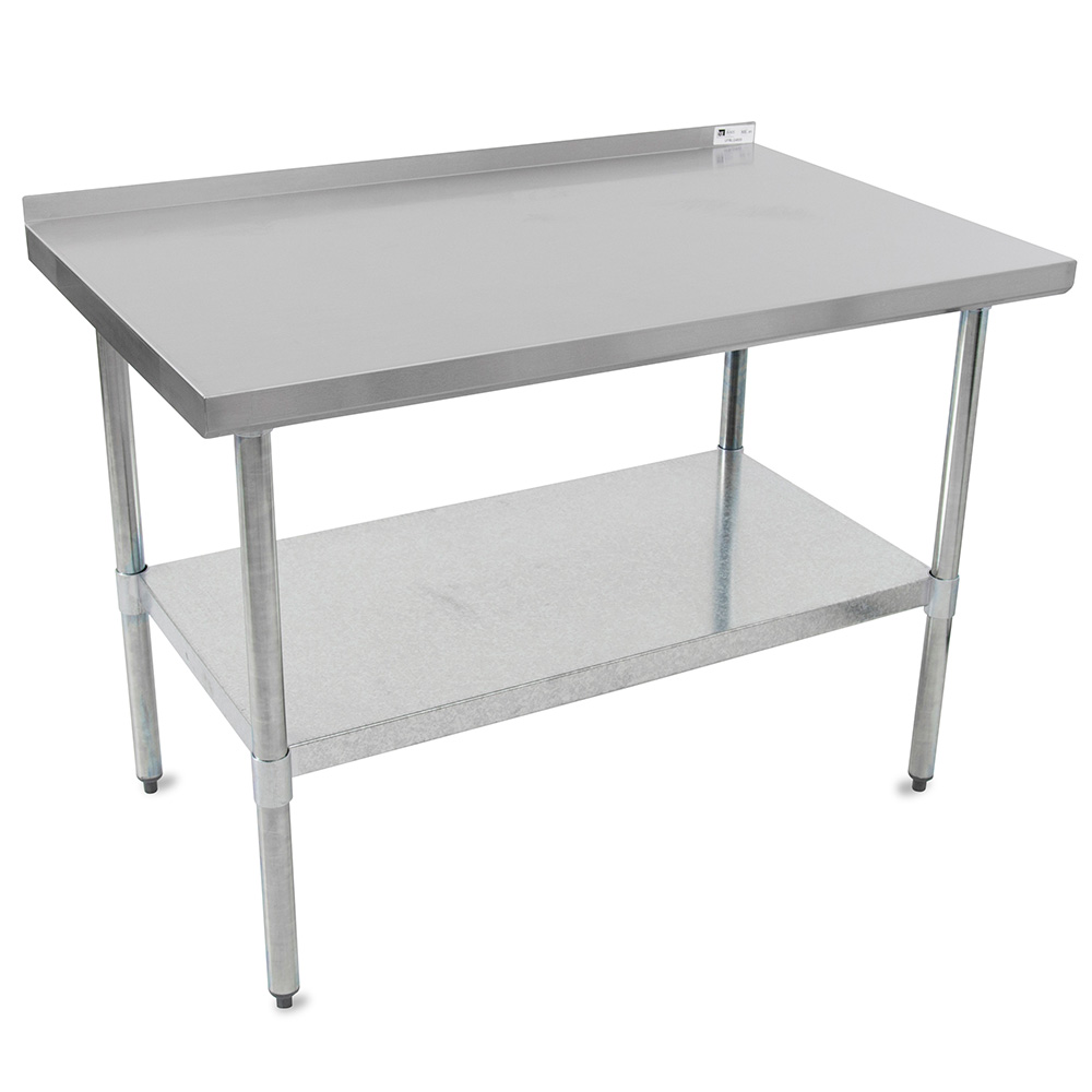 "John Boos UFBLG9630 96"" 18-ga Work Table w/ Undershelf & 430-Series Stainless Top, 1.5"" Backsplash"