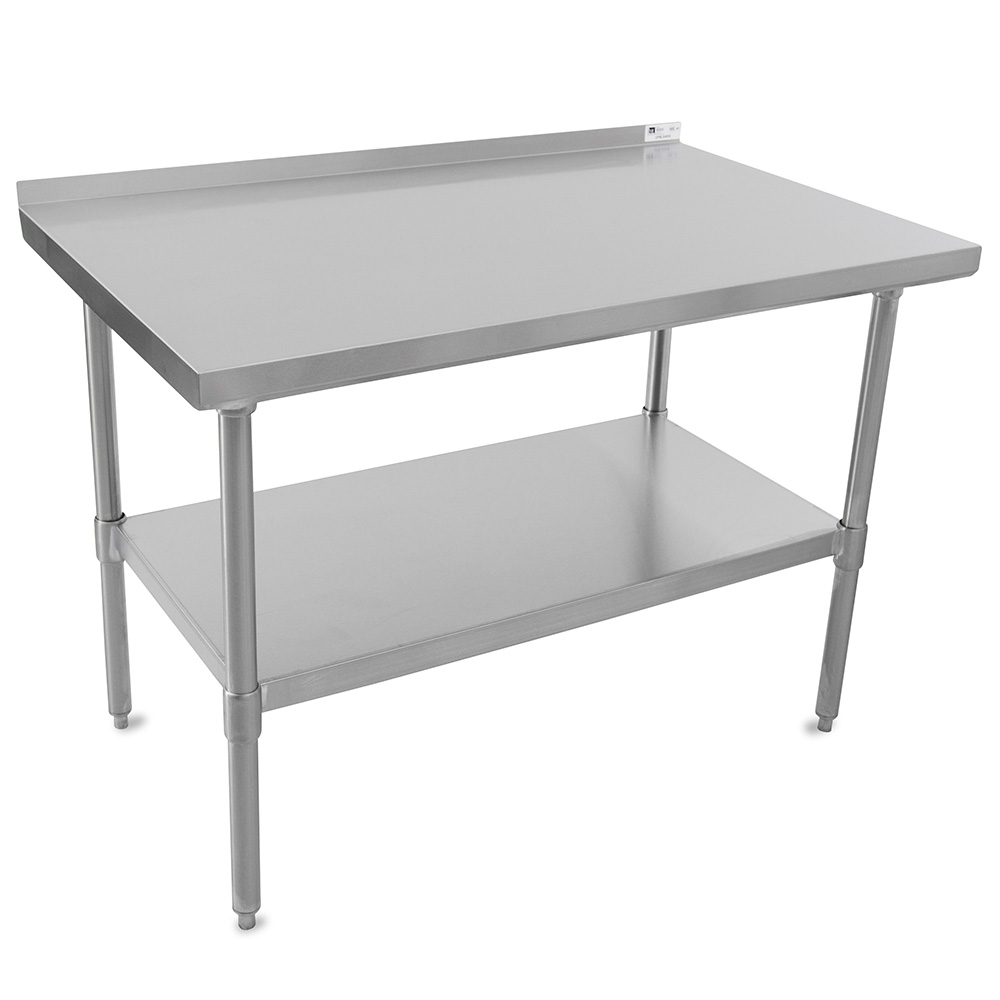 "John Boos UFBLS9618 96"" 18-ga Work Table w/ Undershelf & 430-Series Stainless Top, 1.5"" Backsplash"
