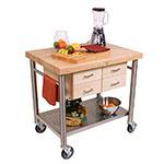 John Boos VEN3626 Cucina Venito Cart, 26 x 36 x 35 in H, S/S Shelf, Maple Drawers, Varnique