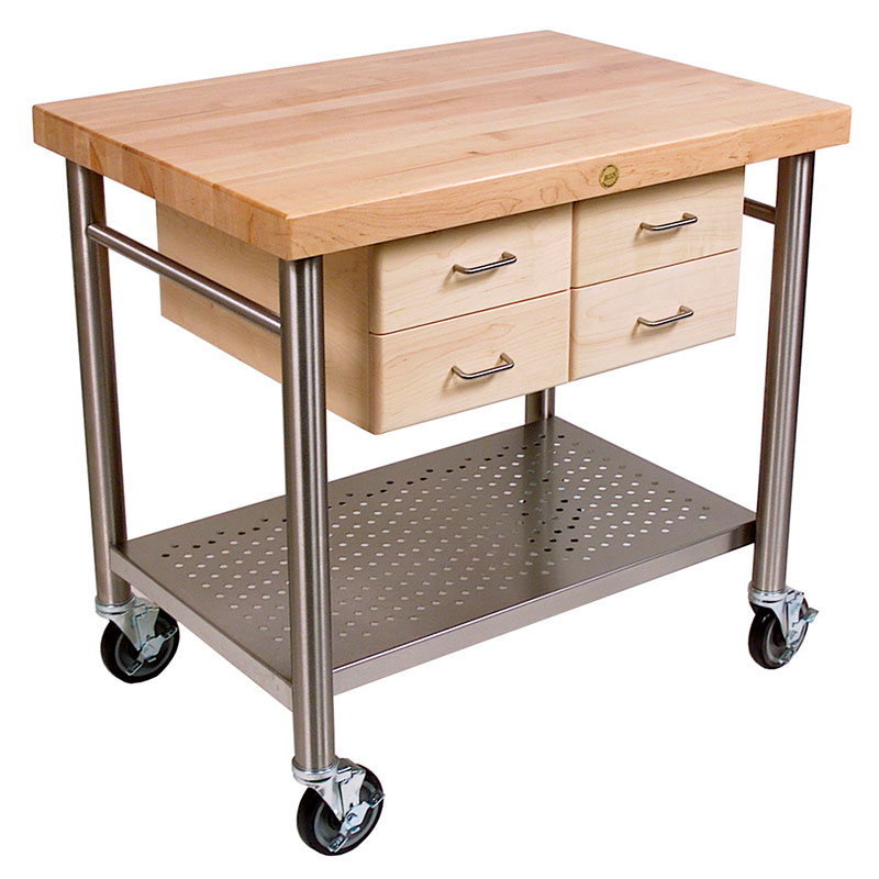 John Boos VEN3626 Cucina Venito Cart 26 x 36 x 35 in H S/S Shelf Maple Drawers Varnique Restaurant Supply