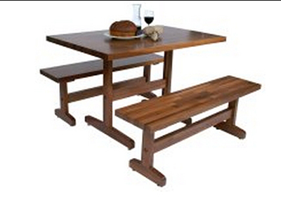 John Boos WAL-AM-FARM-BNCH-72 Trestle Table w/ Black Walnut Edge Grain Top & Varnique Finish, 18x72x12-in