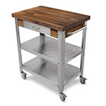John Boos WAL-CUCE30 Cart w/ Walnut Top & (2) Shelves, 20x30x35""