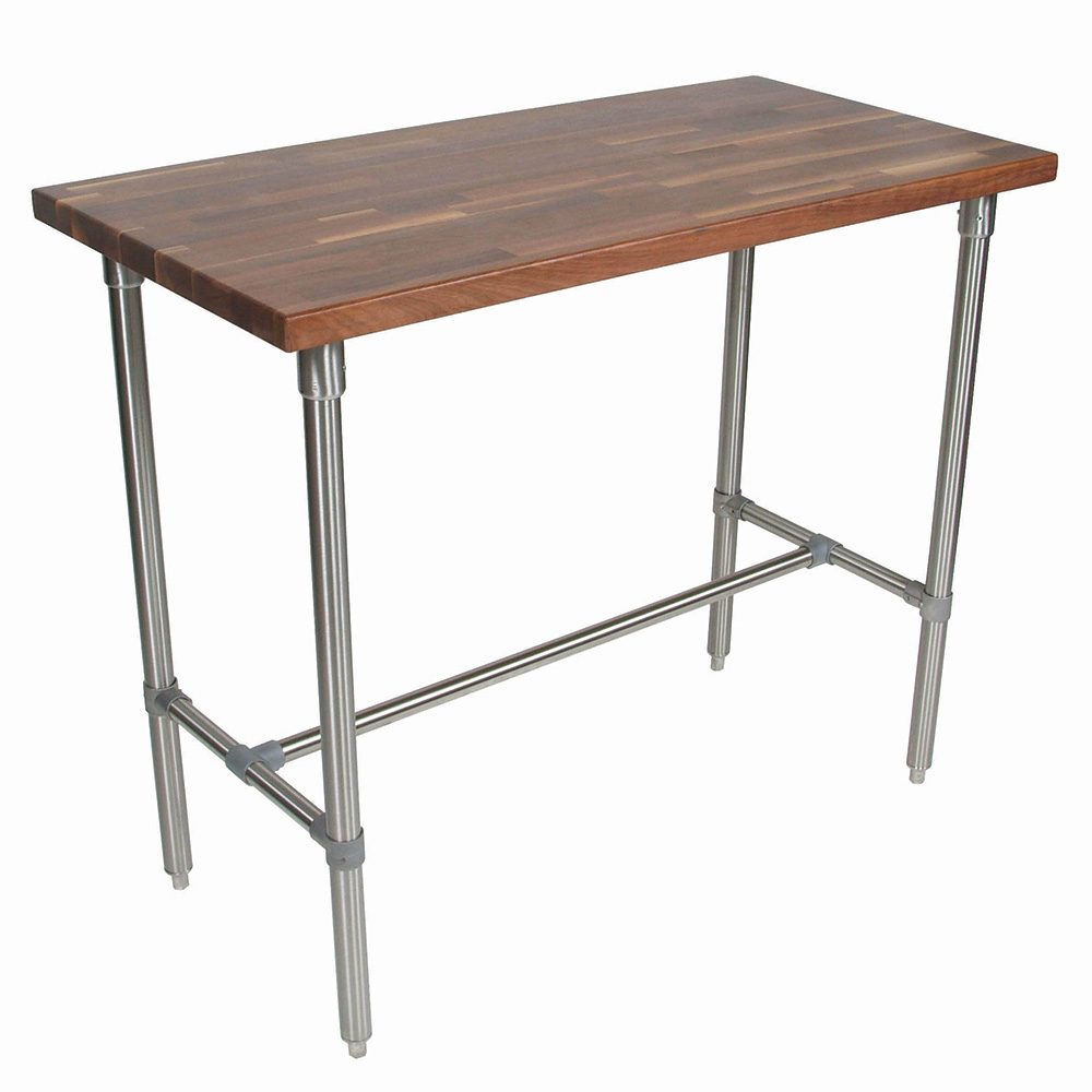 John Boos WAL-CUCKNB424 Cucina Americana Classico Table, Walnut, 48 x 24 x 36-in H