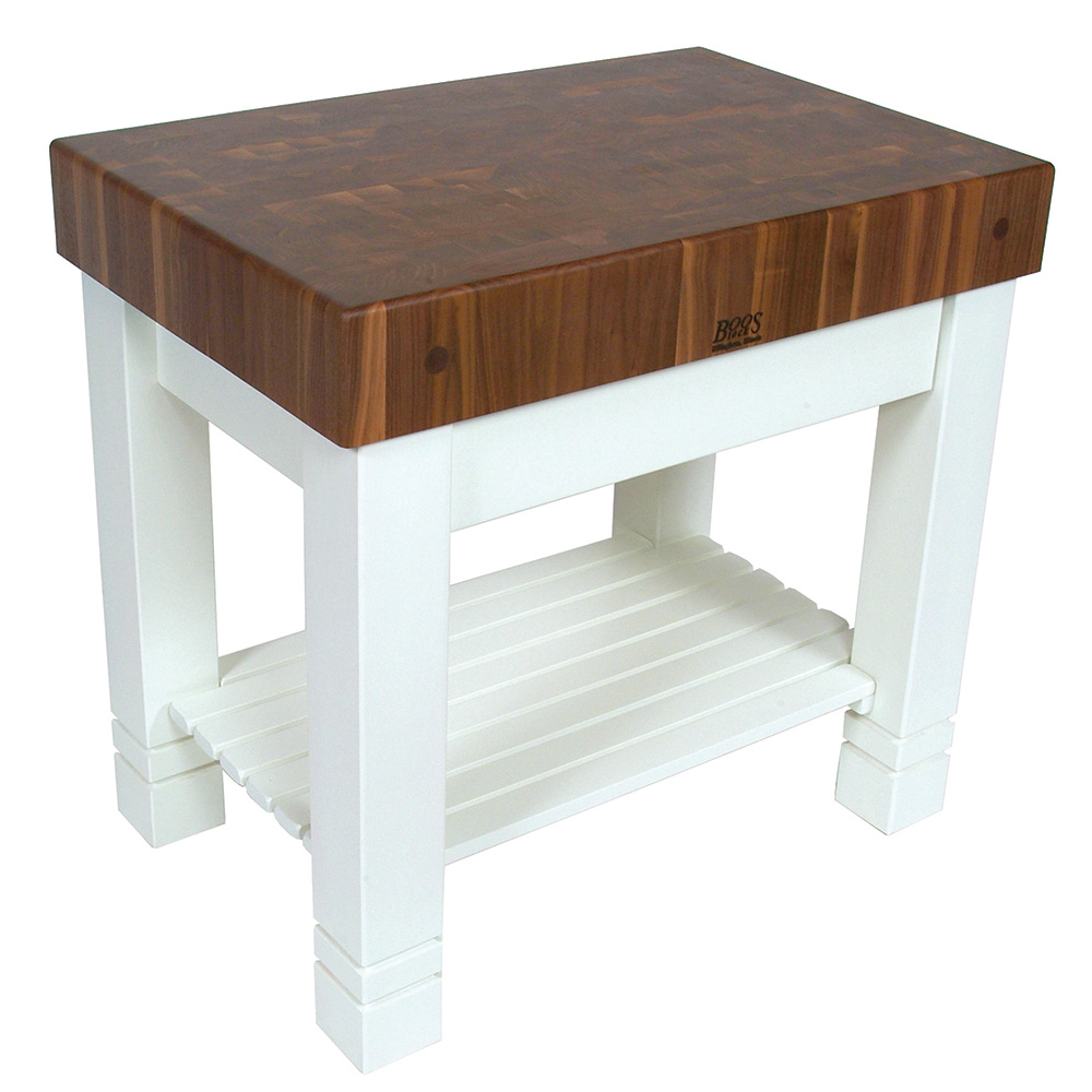 John Boos WAL-HMST36245-AL Homestead Block Table, 5 in End Grain Black Walnut, Alabaster Base, 36 x 24 in