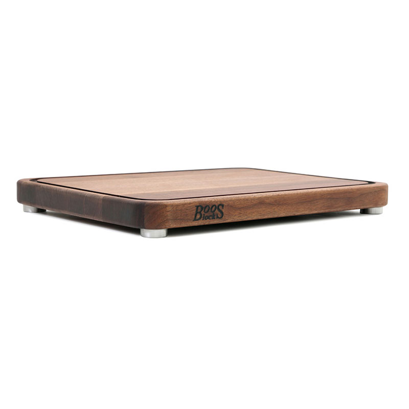 "John Boos WAL-TEN20153 Cutting Board w/ Juice Groove- Stainless Feet. 20x15x2"", American Black Walnut"