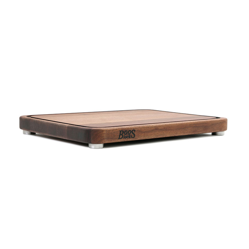 "John Boos WAL-TEN2418-3 Cutting Board w/ Juice Groove- Stainless Feet, 24x18x2"", American Black Walnut"