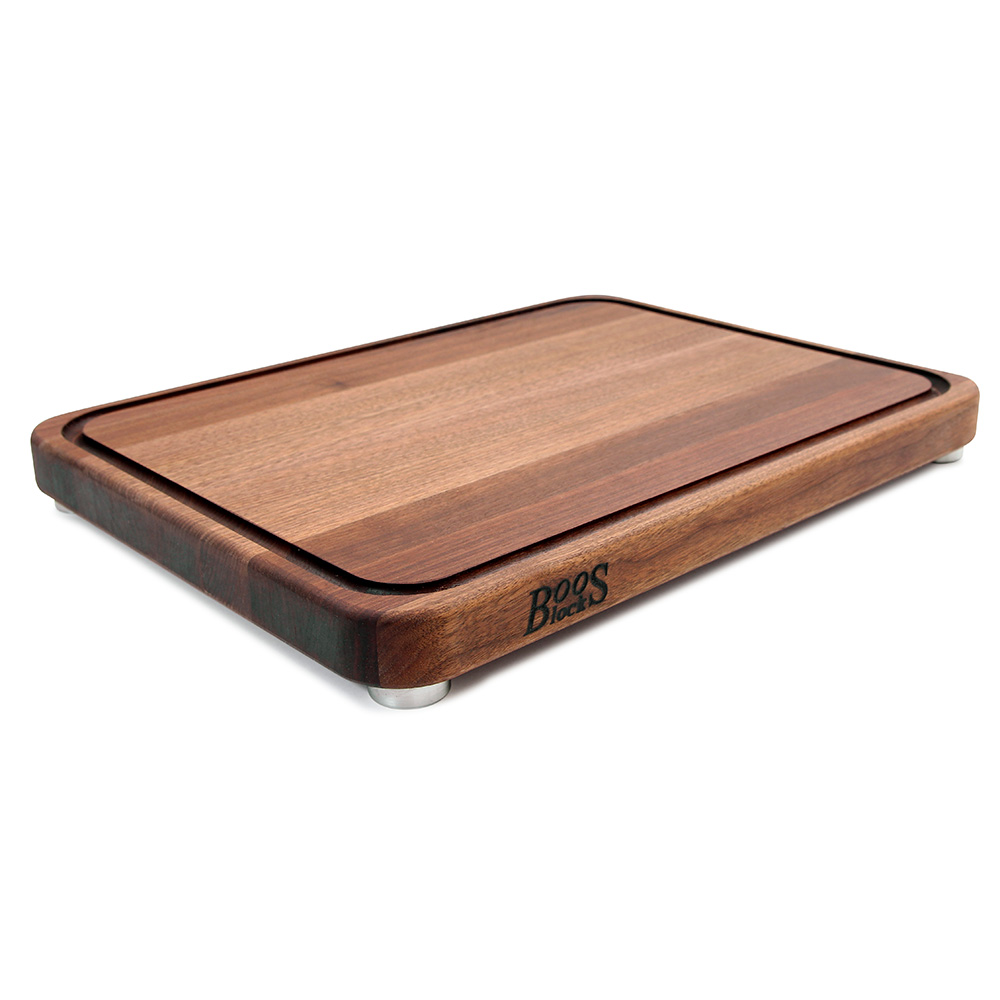 John Boos WAL-TEN2418 Cutting Board w/ Juice Groove- Stainless Feet, 24x18x2, American Black Walnut