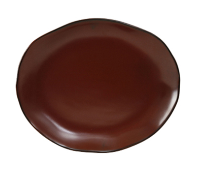 "Tuxton GAR-023 Oval Ceramic Platter - 11x13-1/4"" Red Rock"