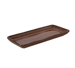 "Tuxton GAR-550 Rectangular Ceramic Tray - 5-1/8x11-5/8"" Red Rock"