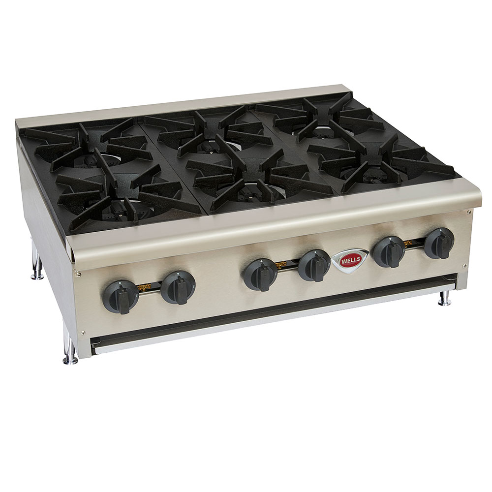 Wells HDHP-3630G Hot Plate w/ 6-Cast Iron Grate Burners, NG/LP