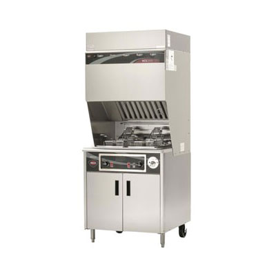 Wells WVF-886 Electric Fryer w/ Ventless Hood - (2) 15-lb...