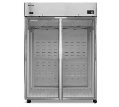 "Hoshizaki CR2B-FG 56"" Two Section Reach-In Refrigerator, (2) Glass Door, 115v"