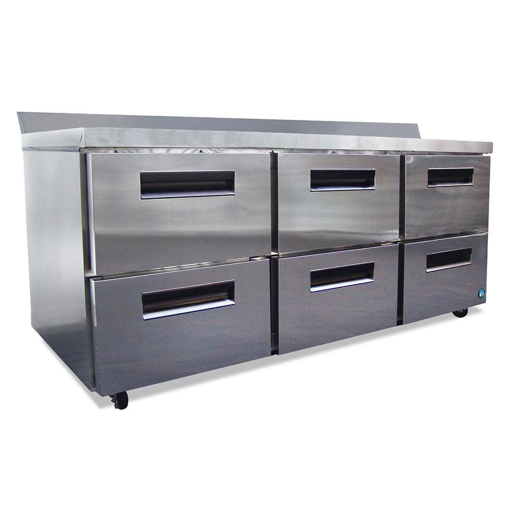 "Hoshizaki CRMR72-WD6 72"" Worktop Refrigerator w/ (3) Sections & (6) Drawers, 115v"
