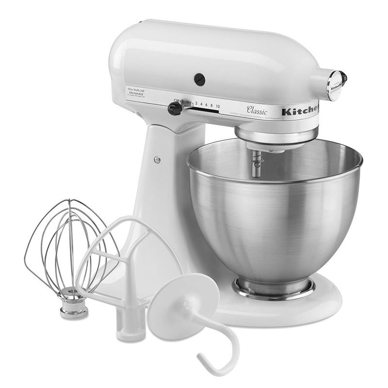 KitchenAid K45SSWH 10-Speed Stand Mixer w/ 4.5-qt Stainless Bowl & Accessories, White, 120v