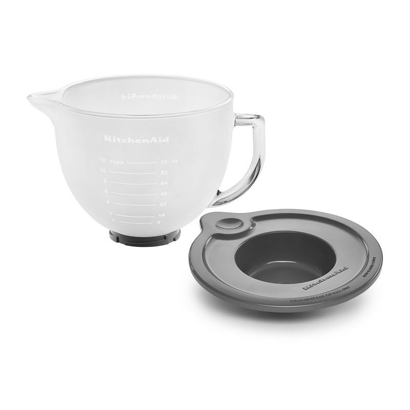 KitchenAid K5GBF Frosted Glass Bowl w/ Measurement Markings & Lid for 5-qt KitchenAid Stand Mixers