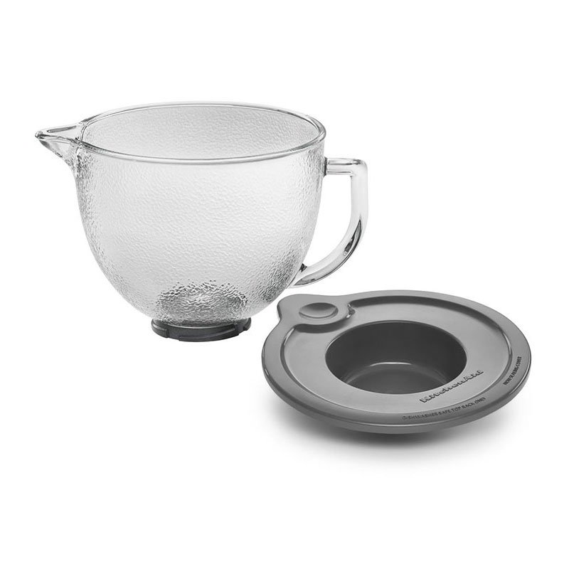 KitchenAid K5GBH 5-qt Hammered Glass Measurement Bowl for KSM150PS - Handle, Lid, Spout