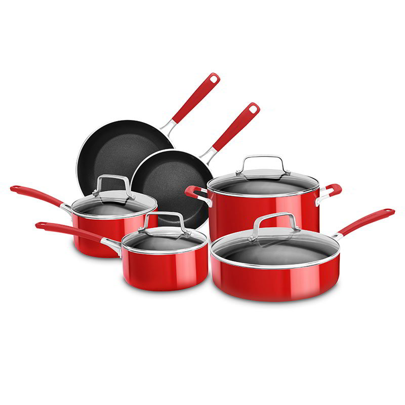 KitchenAid KCAS10ER 10-Piece Non-Stick Cookware Set w/ Glass Lids - Aluminum/Stainless, Empire Red