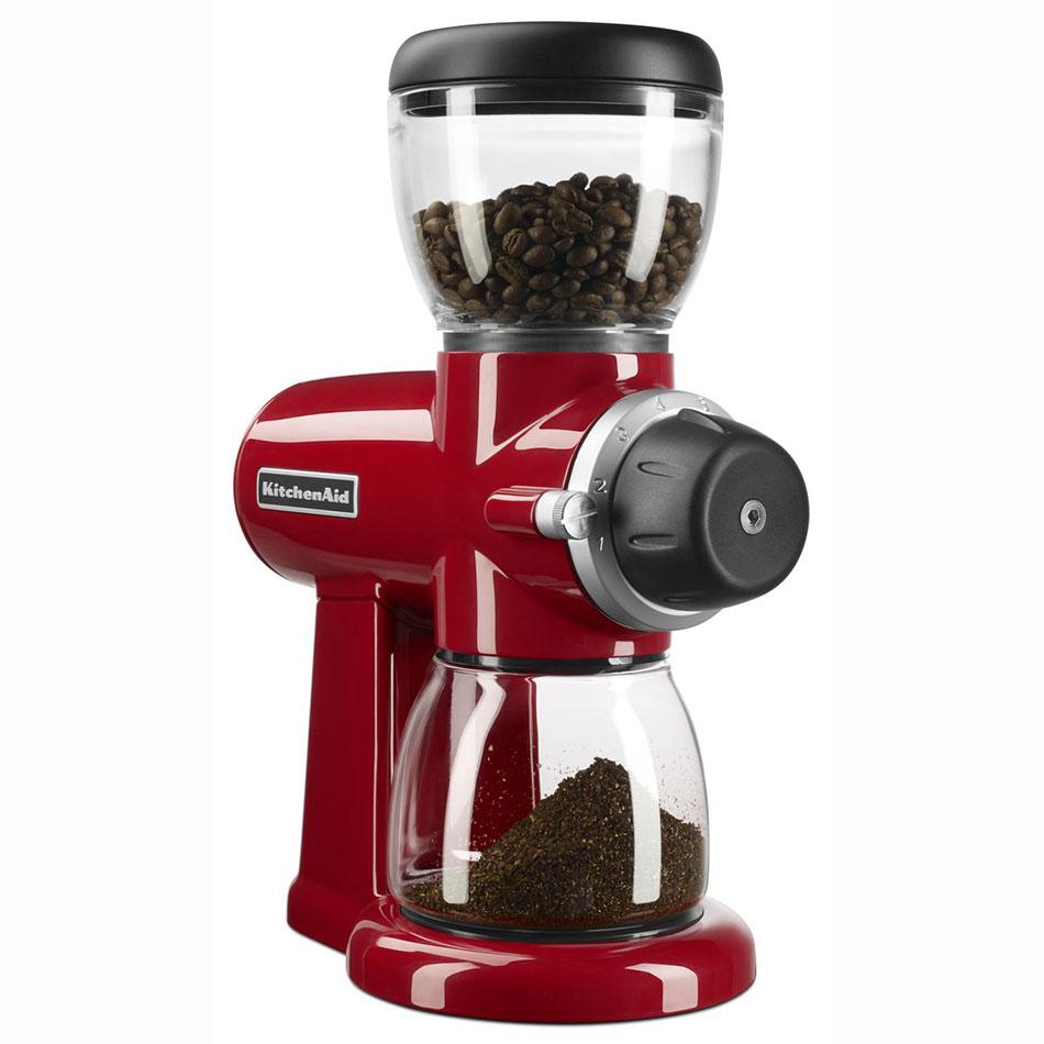 KitchenAid KCG0702ER 7-oz Burr Coffee Grinder w/ 15 Grind Settings, Empire Red