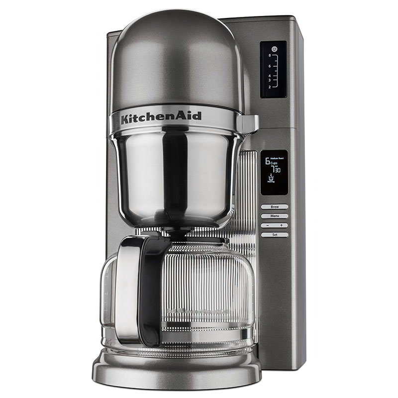 kitchenaid kcm0802ms 8cup pour over coffee maker w carafe 24hr medallion silver