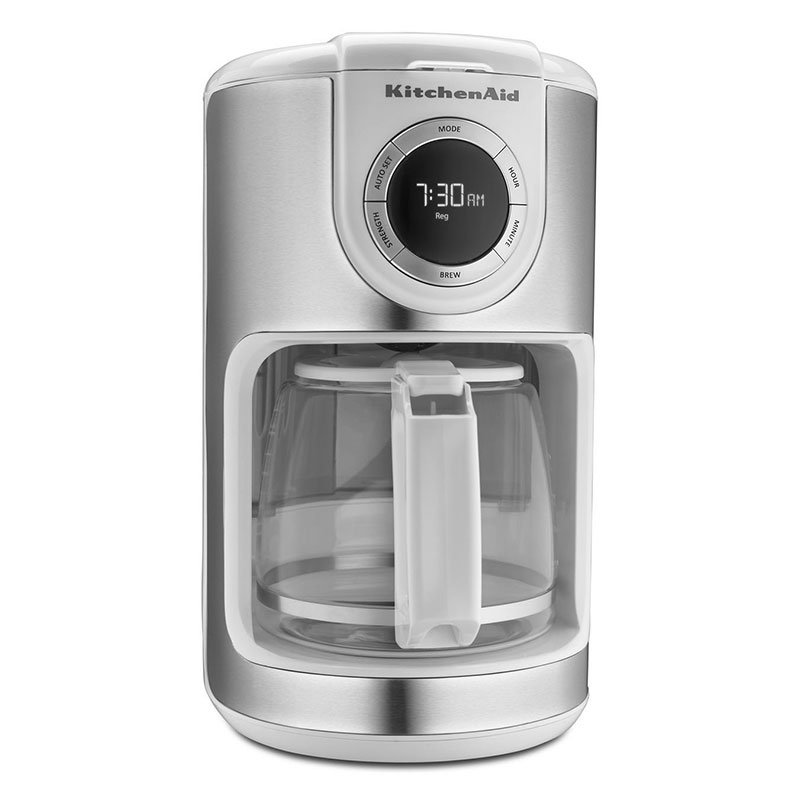 KitchenAid KCM1202WH 12-cup Coffee Maker w/Glass Carafe, LED Display, White