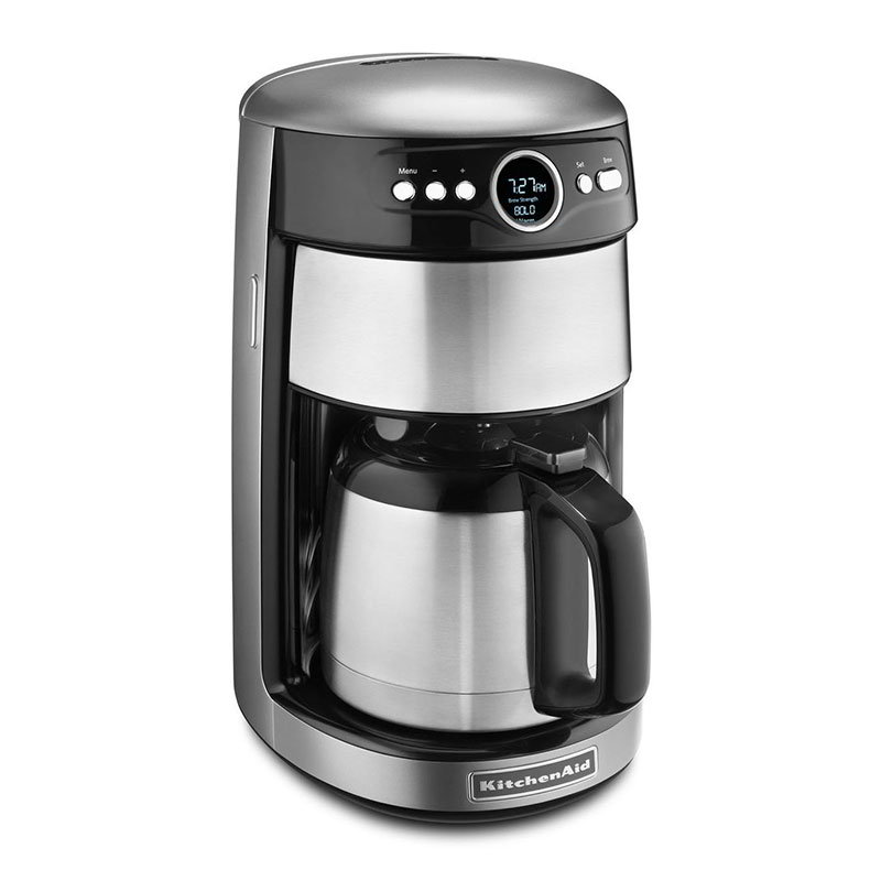 KitchenAid KCM1203CU 12-cup Coffee Maker w/Glass Carafe, Programmable, Contour Silver
