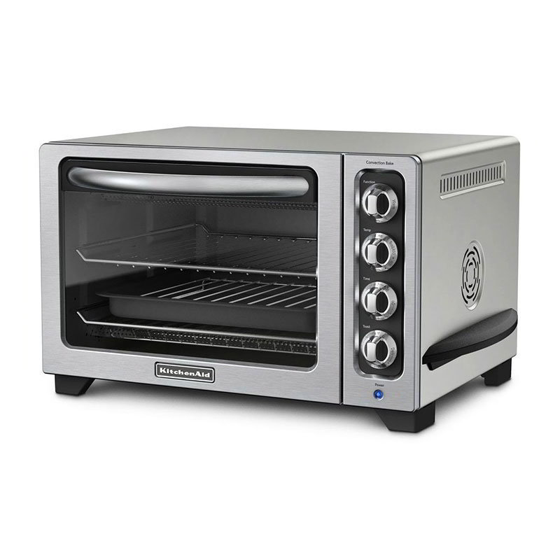 "KitchenAid KCO223CU 12"" Countertop Convection Oven w/ Timer & Non-Stick Interior, Silver"