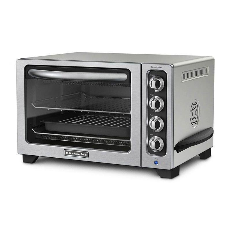Kitchenaid KCO223CU Countertop Convection Oven w/ Timer & Non-Stick Interior, Silver