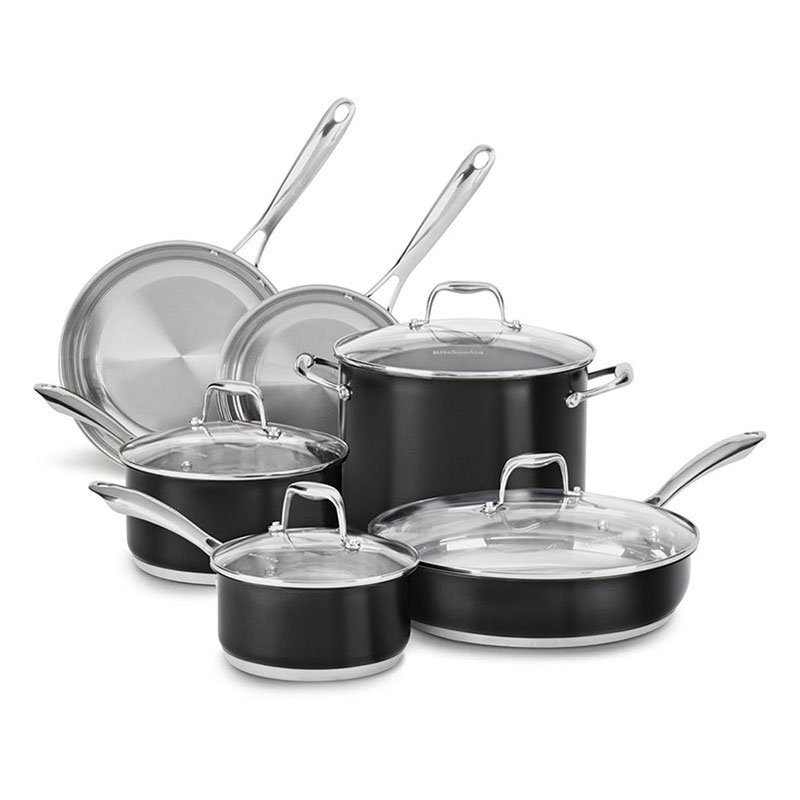 KitchenAid KCSS10OB 10-Piece Stainless Cookware Set w/ Glass Lids - Onyx Black