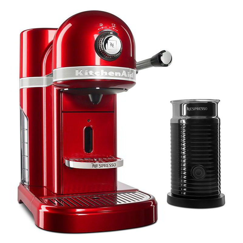 KitchenAid KES0504CA0 Nespresso® Machine w/ Milk Frother, 6 Brew Strength Settings, Candy Apple Red