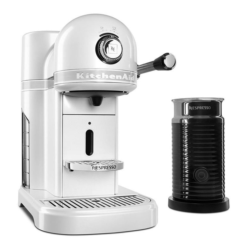 KitchenAid KES0504FP0 Nespresso® 1.3L Espresso Coffee Maker w/ Milk Frother, White
