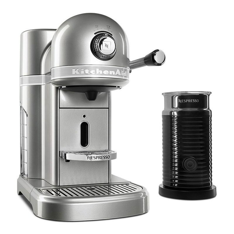 KitchenAid KES0504SR0 Nespresso® 1.3L Espresso Coffee Maker w/ Milk Frother, Silver
