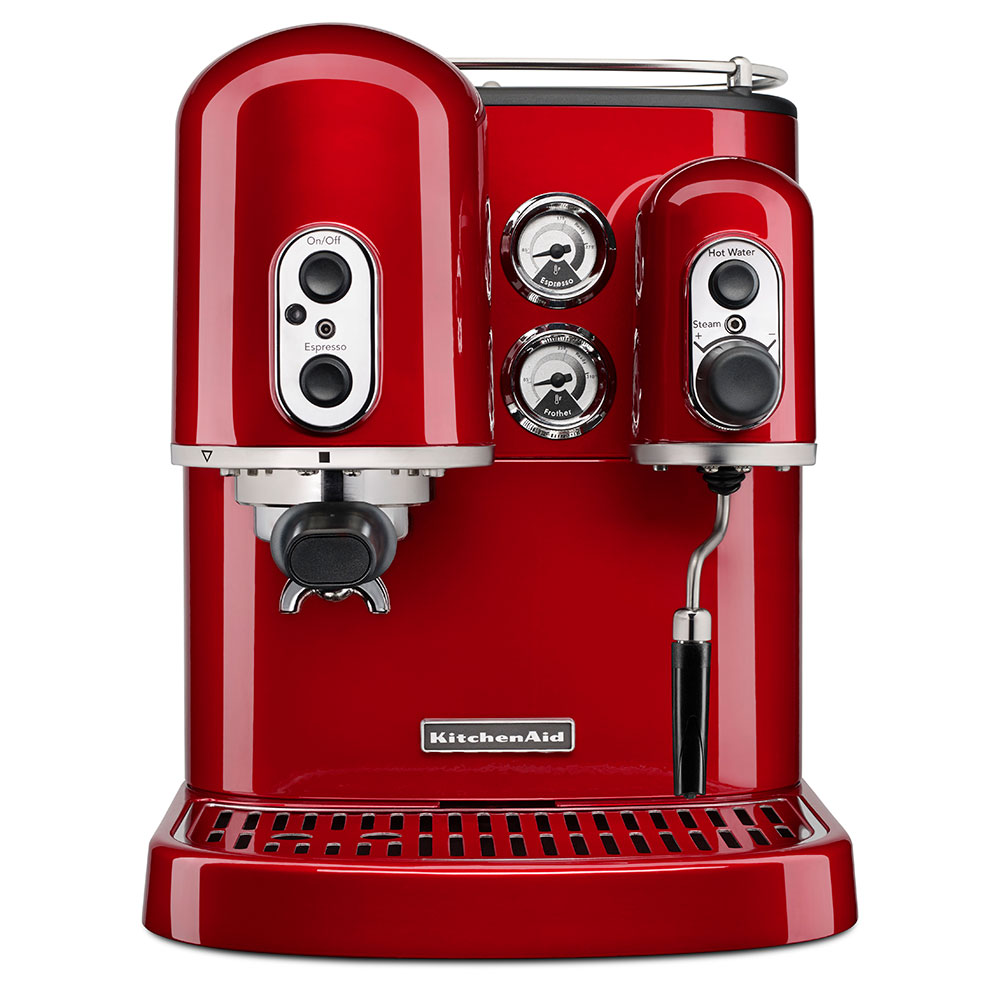 KitchenAid KES2102CA Pro Line Series 7.5-cup Espresso Coffee Maker w/ Milk Frother, Red