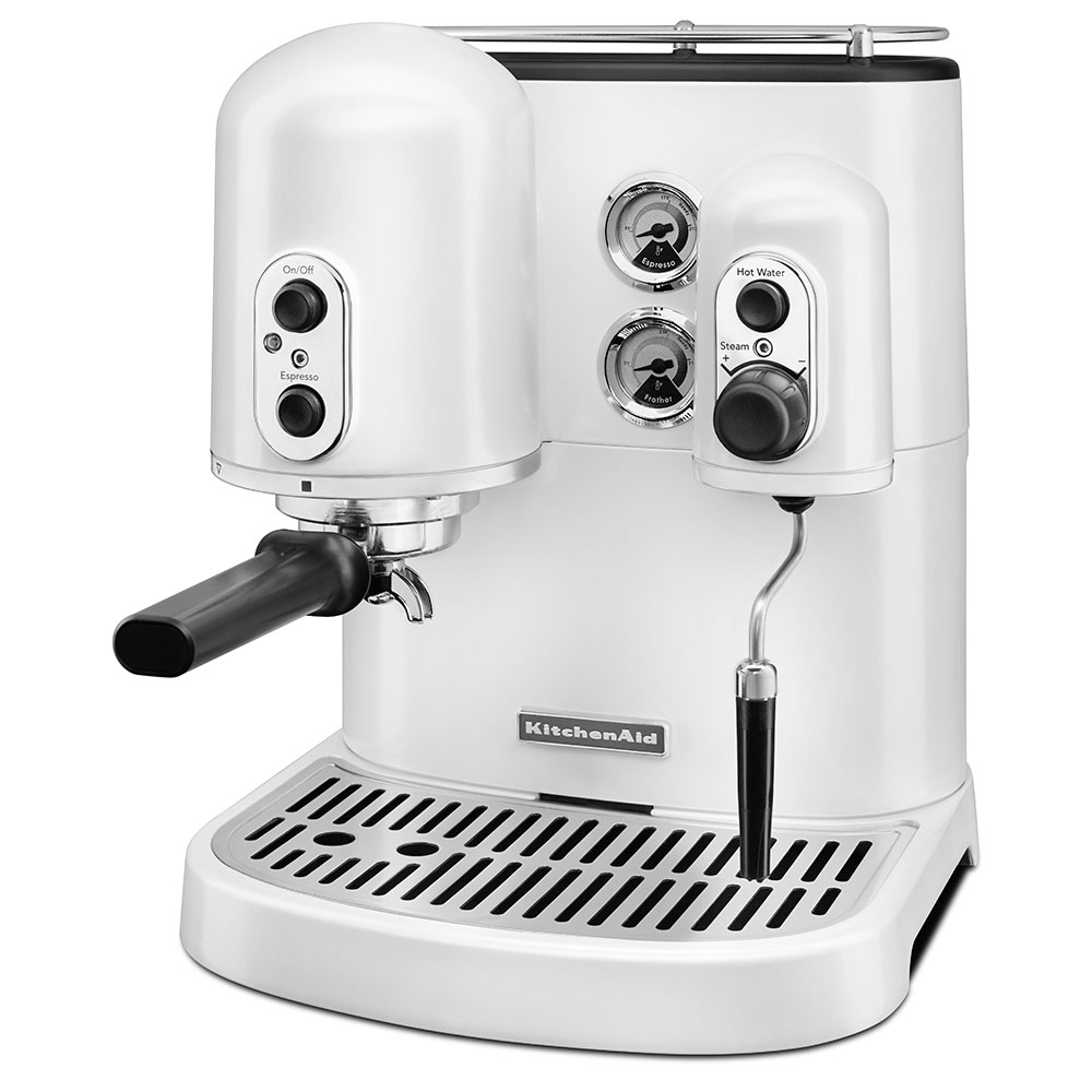 KitchenAid KES2102FP Pro Line Series 7.5-cup Espresso Coffee Maker w/ Milk Frother, White