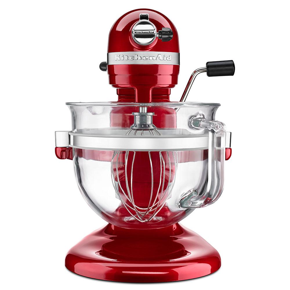 KitchenAid KF26M22CA 10-Speed Stand Mixer w/ 6-qt Glass Bowl & Accessories, Candy Apple Red, 120v