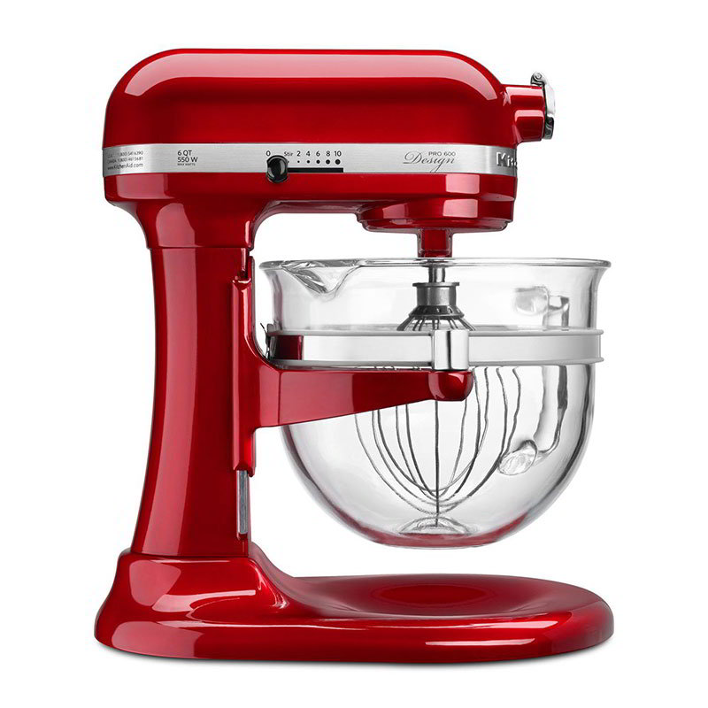 KitchenAid KF26M22CA 10-Speed Stand Mixer w/ 6-qt Glass Bowl & Accessories, Candy Apple Red, 120v