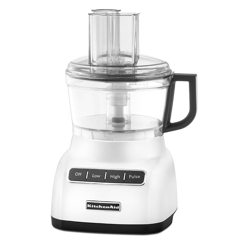 KitchenAid KFP0711WH 7-Cup Food Processor w/ Wide Mouth Feed Tube, White
