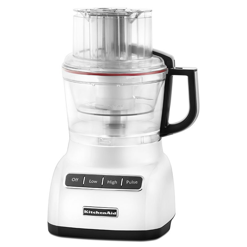 KitchenAid KFP0922WH 9-Cup Food Processor w/ Mini Bowl, White