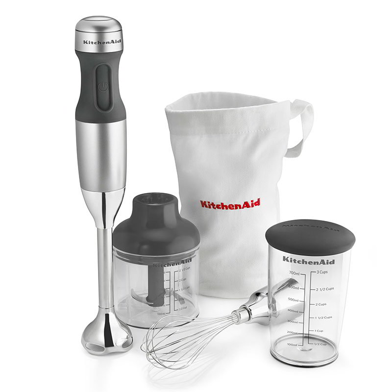 KitchenAid KHB2351CU 3-Speed Hand Blender w/ 2.5-Cup Chopper & Whisk, Contour Silver